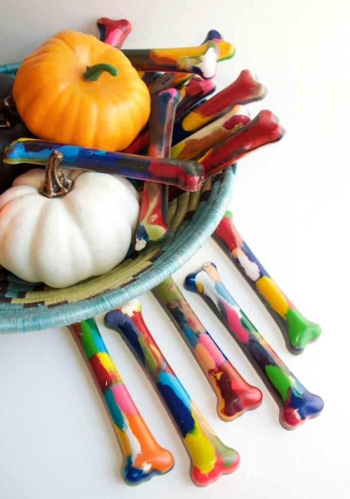 DIY melted crayon bones for Halloween by Jennifer Perkins