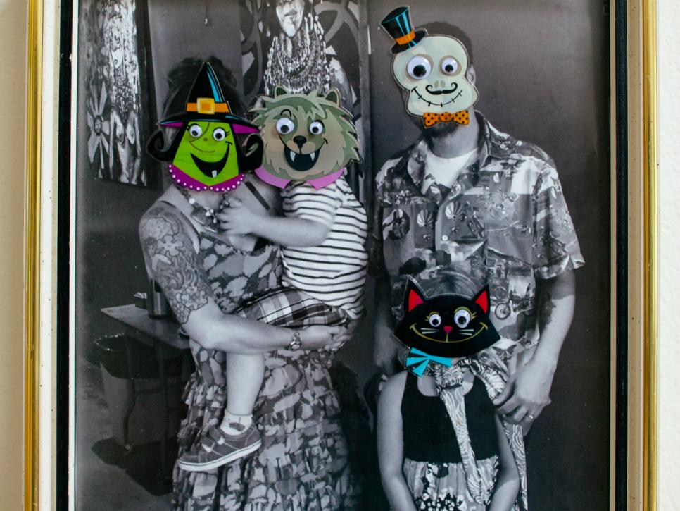 Family portrait with Halloween stickers.