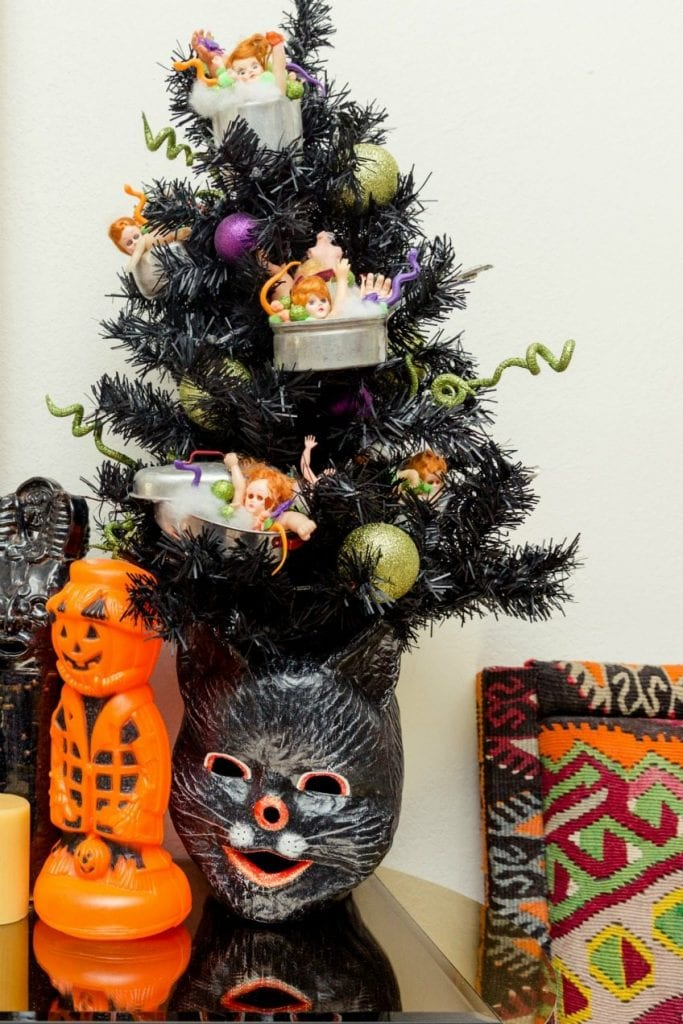 Halloween tree with creepy doll part ornaments by Jennifer Perkins