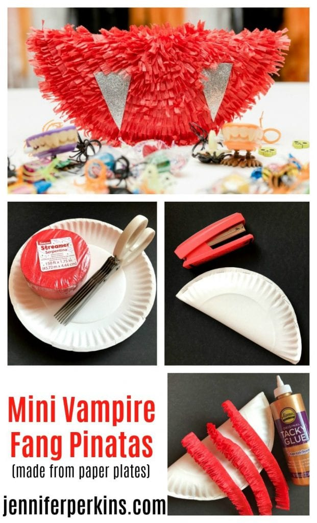 How to make a DIY Halloween Piñata out of a paper plate that looks like vampire fangs by Jennifer Perkins