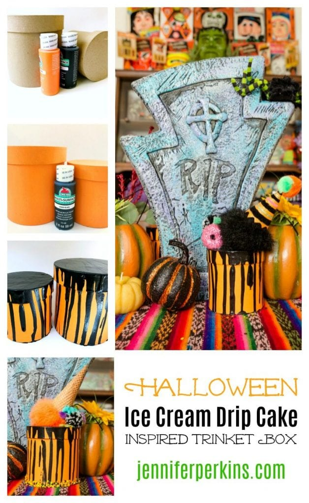 How to Make a Halloween Themed Spilled Ice Cream Cake Inspired Gift Box Jennifer Perkins #halloween #halloweenicecreamcake #diygiftbox #diyhalloweendecor