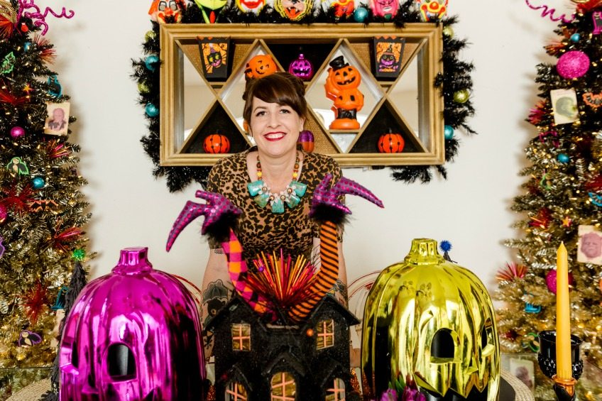 What's Better Than One Ombre Halloween Tree?  Two Ombre Halloween Trees Jennifer Perkins #ombrehalloweentrees #ombre #halloweentree #halloween