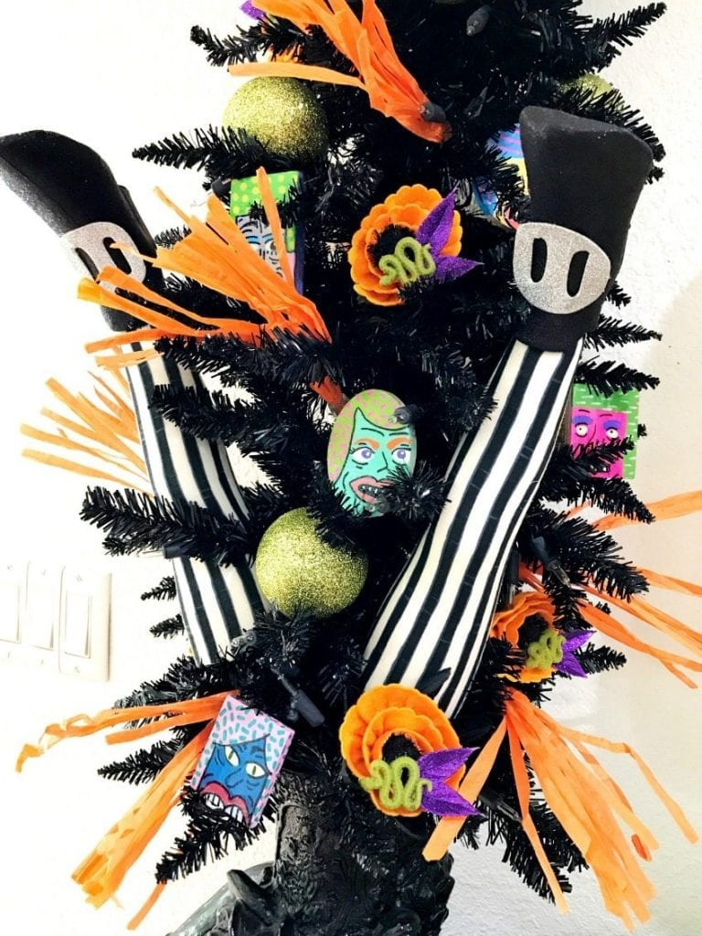Halloween tree with hand painted ornaments by Jennifer Perkins