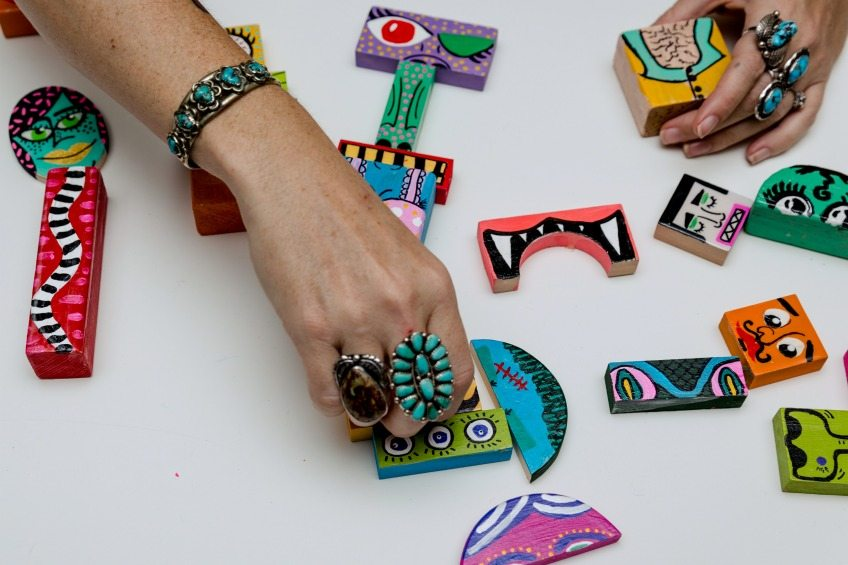Use old kids blocks to paint a DIY make your own monster set by Jennifer Perkins