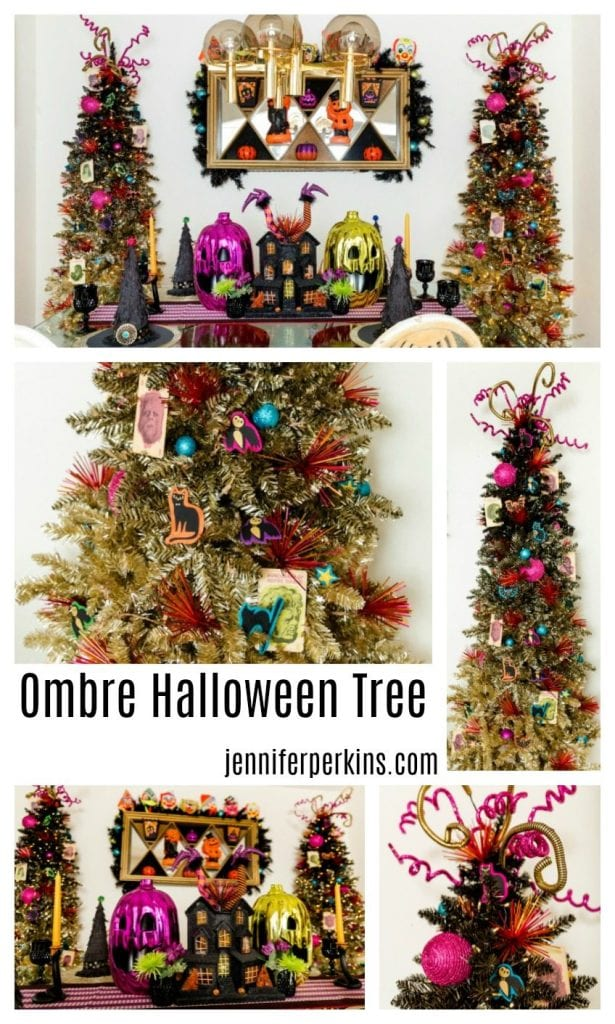 Black and Gold Ombre Halloween Tree Inspiration from Jennifer Perkins #ombrehalloweentrees #halloweendecorating #halloween #halloweendecor