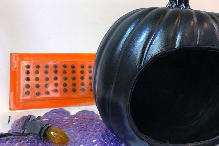 Pumpkin doily light supplies.