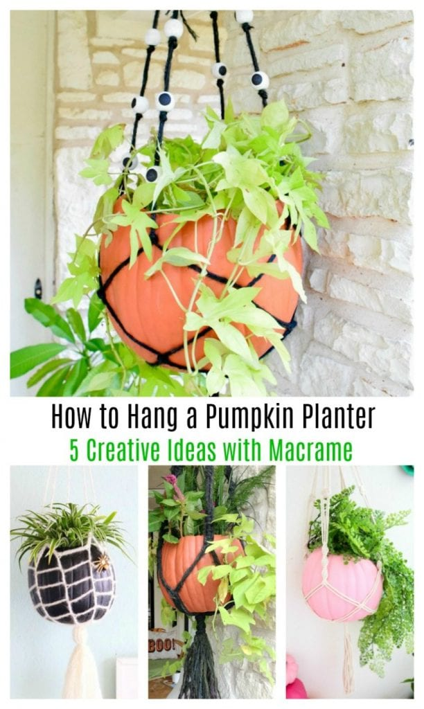 Creative ideas for hanging a pumpkin planter with macrame on Jenniferperkins.com