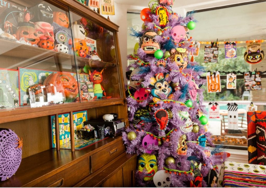 Purple Halloween tree with DIY monster ornaments by Jennifer Perkins
