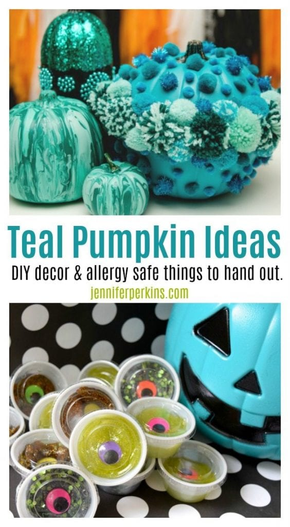 Teal pumpkin inspiration and candy free alternatives to handout at Halloween by Jennifer Perkins