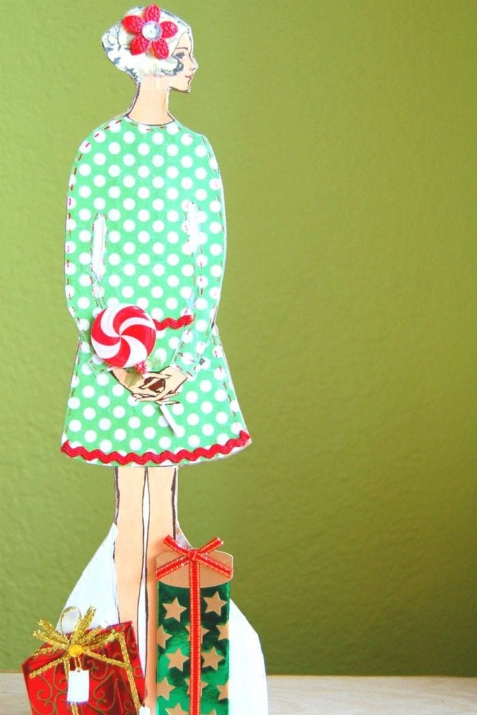 DIY Christmas paper doll from vintage sewing patterns by Jennifer Perkins
