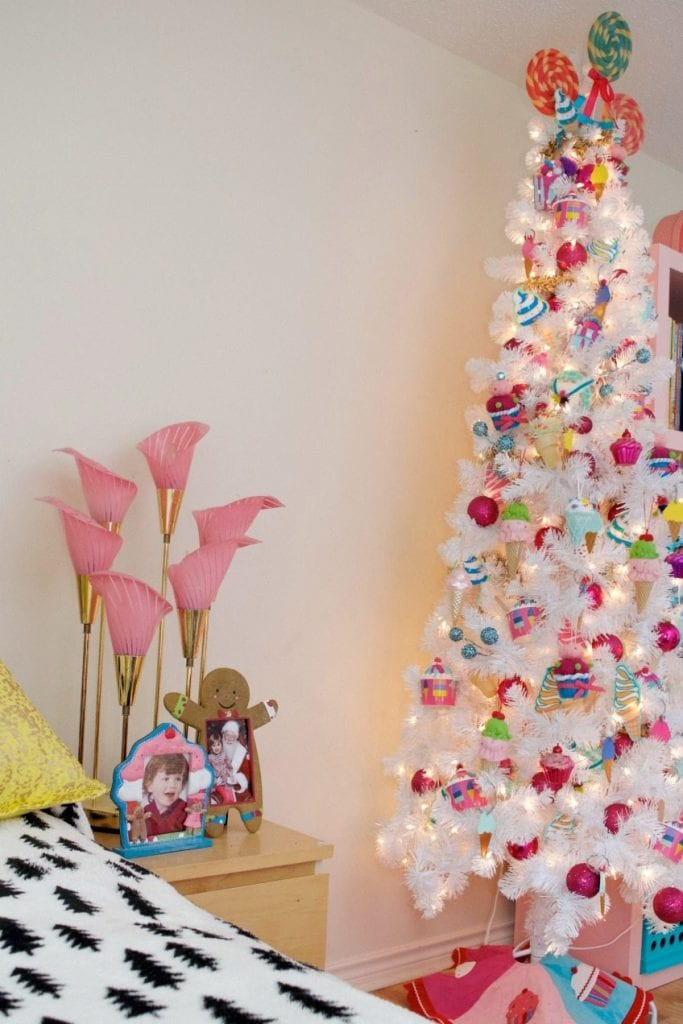 Tween room Christmas tree with DIY ice cream ornaments by Jennifer Perkins