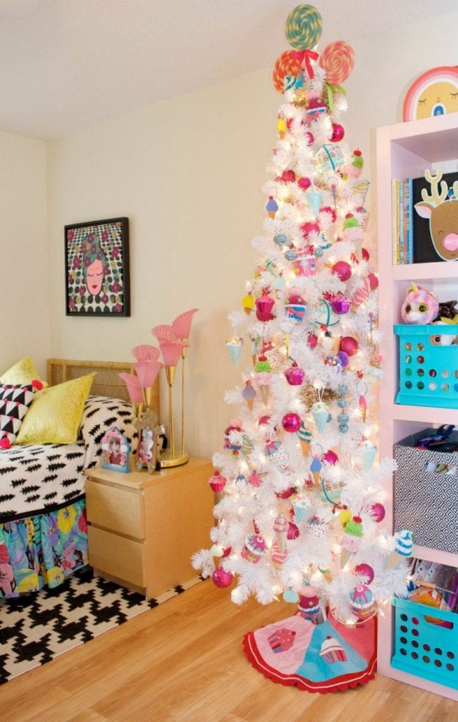 Ice cream themed Christmas tree for a tween room by Jennifer Perkins