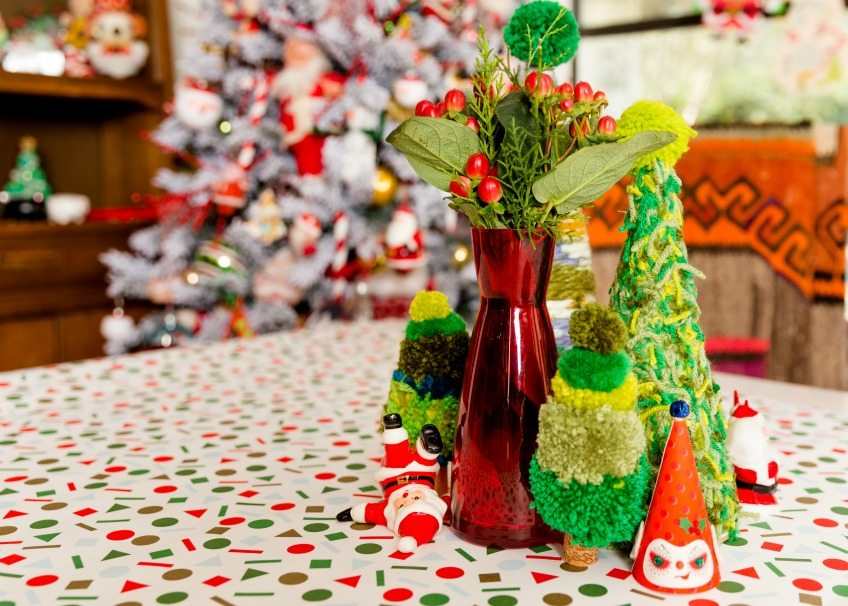 How to make a yarn Christmas tree forest full of pompoms by Jennifer Perkins
