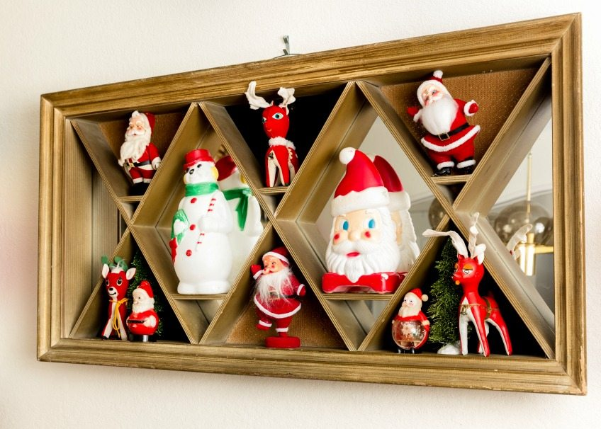Shadow box full of vintage blow molds and Santa toys by Jennifer Perkins