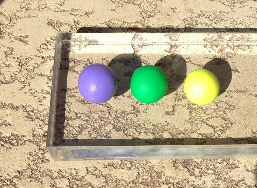 Mardi Gras colored clay balls for DIY King Cake Ornaments