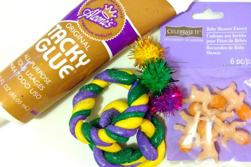 Supplies for making air dry clay king cake ornaments by Jennifer Perkins