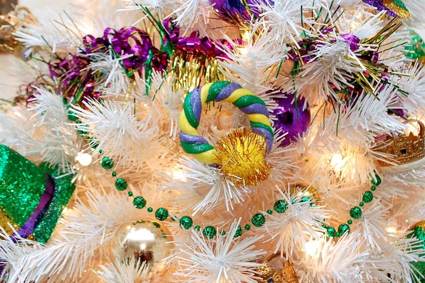 DIY clay King Cake ornaments for a Mardi Gras tree by Jennifer Perkins