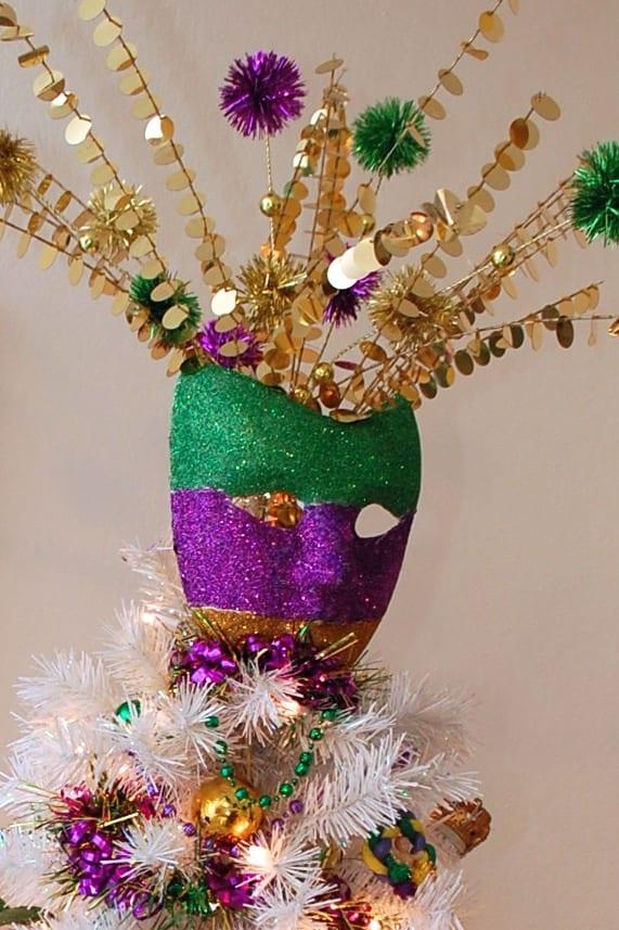 DIY Mardi Gras mask as a tree topper by Jennifer Perkins