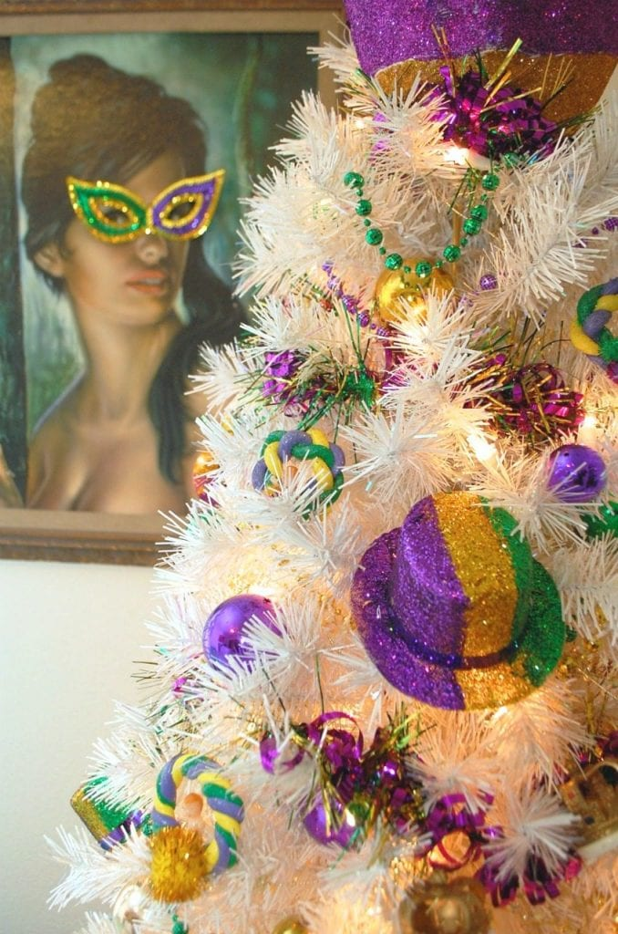 Mardi Gras tree by Jennifer Perkins with DIY King Cake ornaments.
