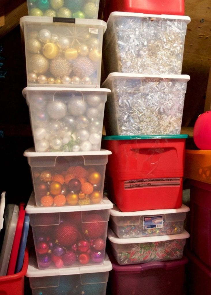 How to store solid colored Christmas ornaments in bins by Jennifer Perkins