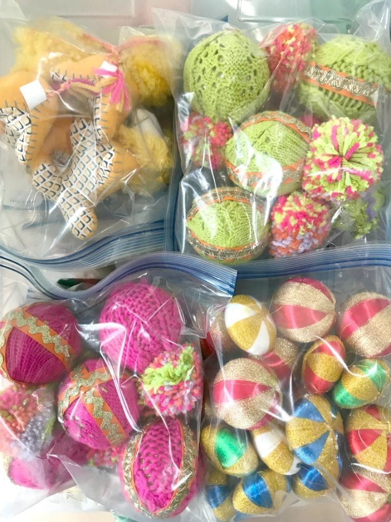 Storing Christmas ornaments in large freezer bags by Jennifer Perkins