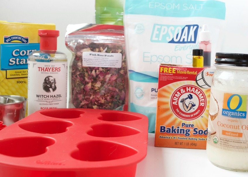 Supplies for making rose scented DIY bath bombs by Jennifer Perkins