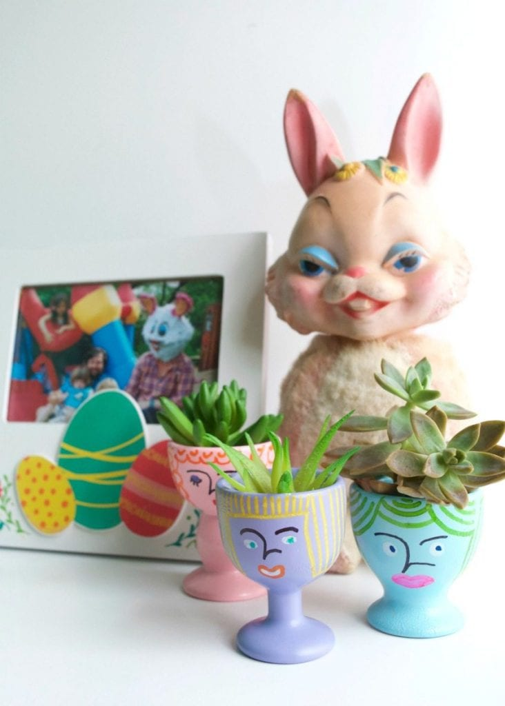 DIY planters made from painted egg cups by Jennifer Perkins