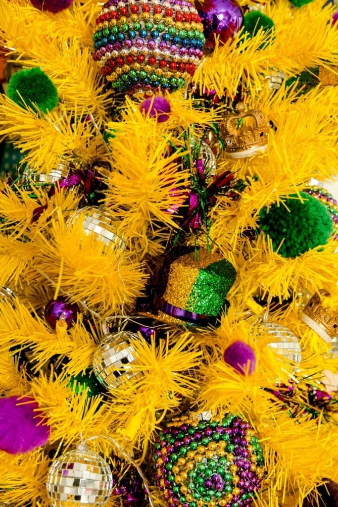 DIY Mardi Gras tree ornaments made from beads by Jennifer Perkins