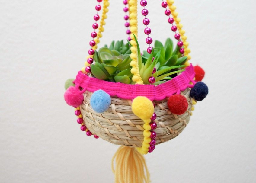Using Mardi Gras Beads to Turn a Basket Into a Boho Hanging Planter by Jennifer Perkins