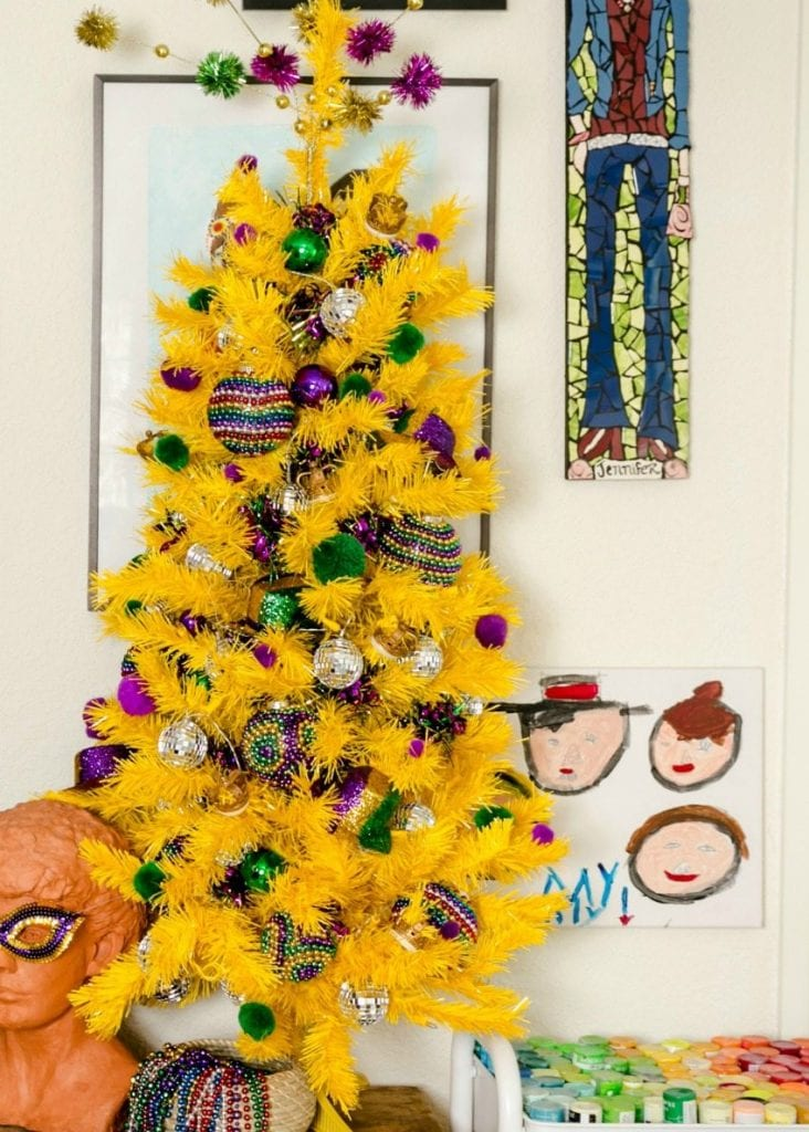 How to decorate a Christmas tree for Mardi Gras complete with DIY Mardi Gras beads by Jennifer Perkins