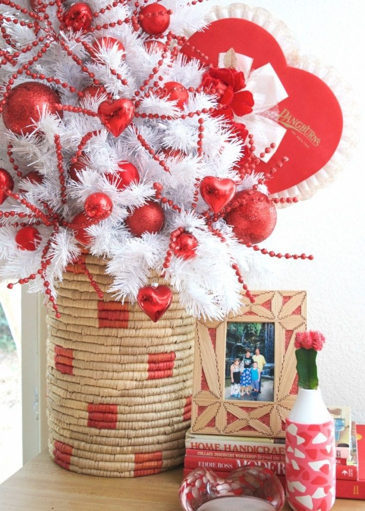 Red and white Valentine's Day tree by Jennifer Perkins