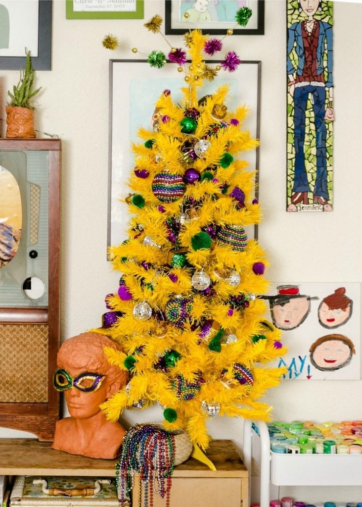 Yellow tree decorated for Mardi Gras by Jennifer Perkins