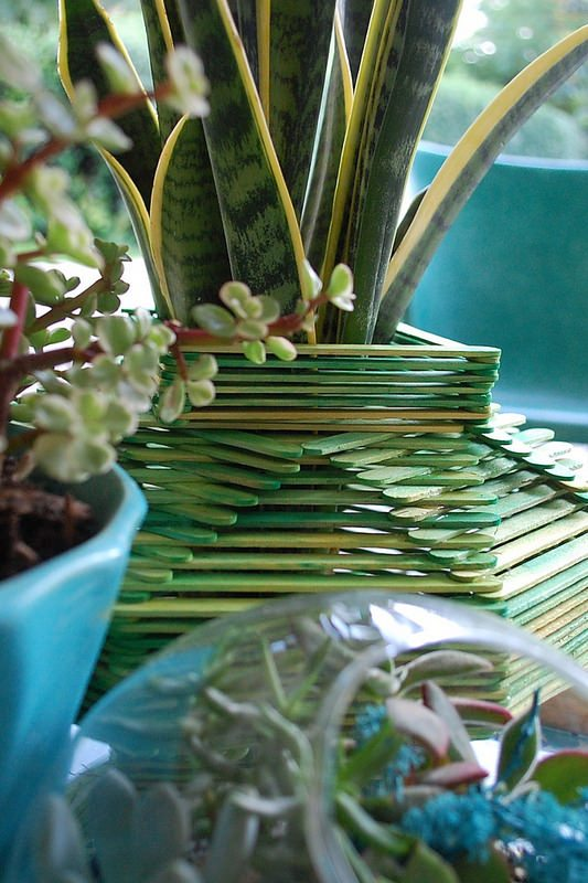 Tramp Art Popsicle Stick Planter