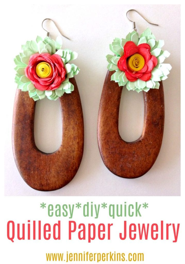 Easy DIY quilled paper flower jewelry by Jennifer Perkins