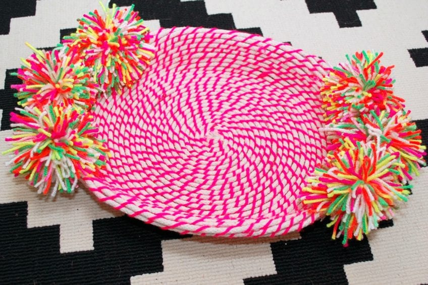 Easy DIY Neon Coiled Rope Baskets