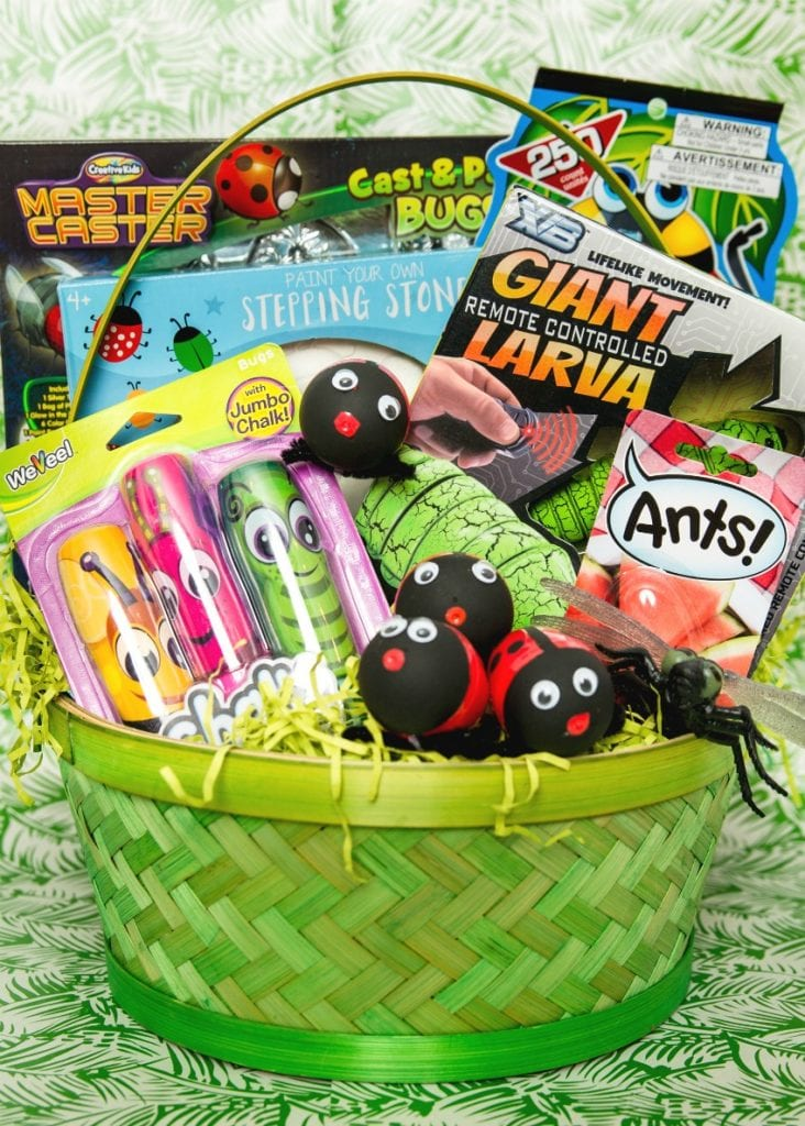 What to put in a bug themed Easter basket complete with DIY ladybug Easter eggs by Jennifer Perkins