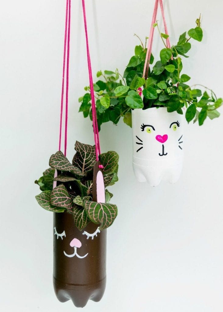 DIY Easter bunny planter made from recycled bottles by Jennifer Perkins