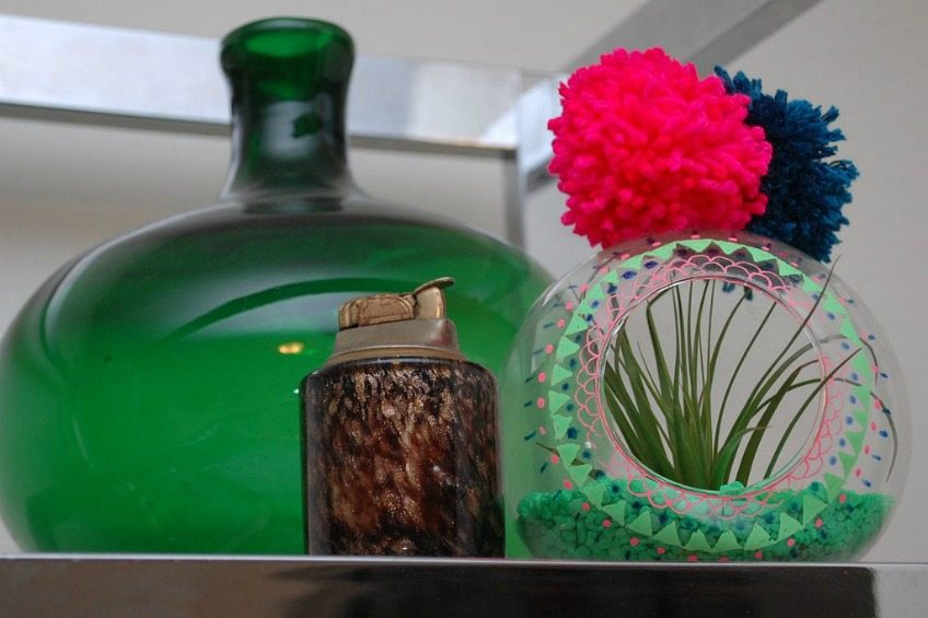 Decorate a store bought glass terrarium with gel pens for a funky handmade planter by Jennifer Perkins