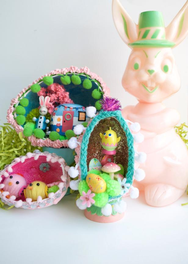 Sugar free diorama Easter eggs by Jennifer Perkins for DIY Network