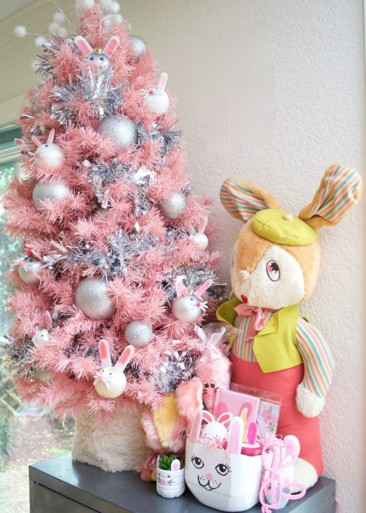 Pink Easter tree with DIY Easter bunny ornaments by Jennifer Perkins