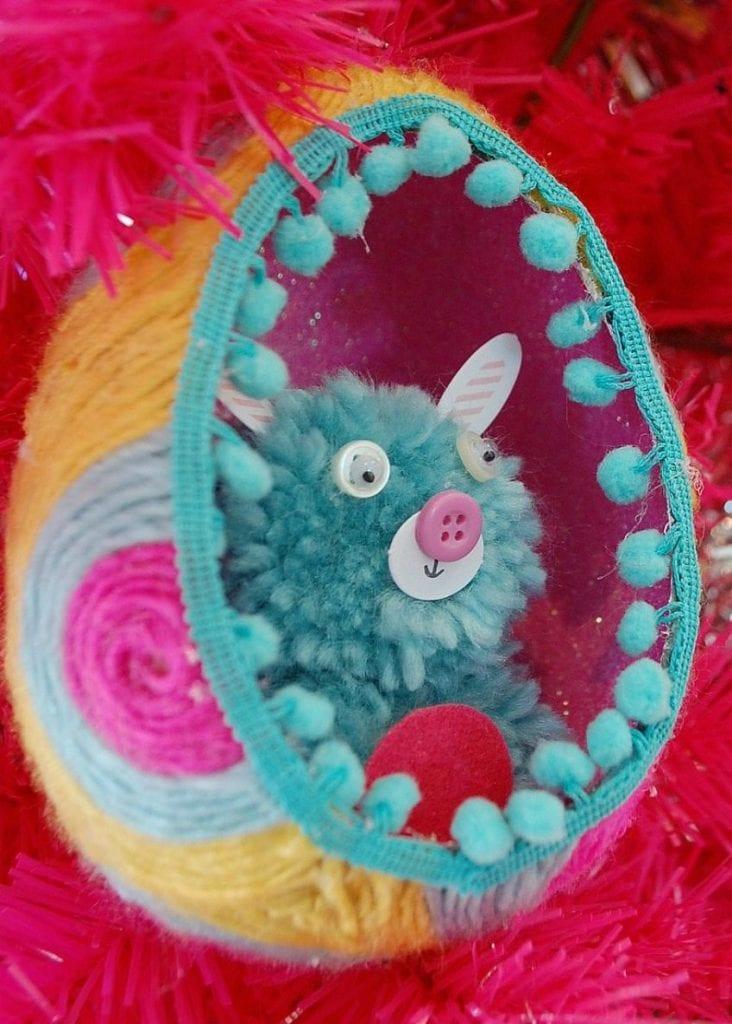 DIY yarn wrapped Easter egg diorama by Jennifer Perkins