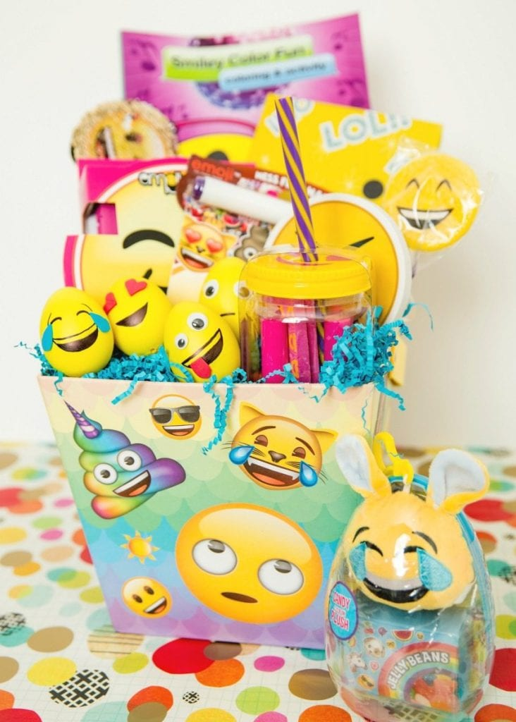 Emoji themed Easter basket with DIY Emoji Easter eggs by Jennifer Perkins