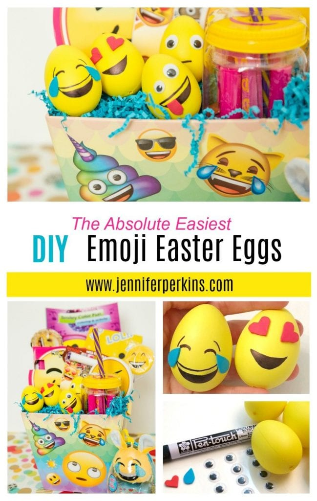 DIY Emoji Easter eggs for an Emoji themed Easter basket - Jennifer Perkins
