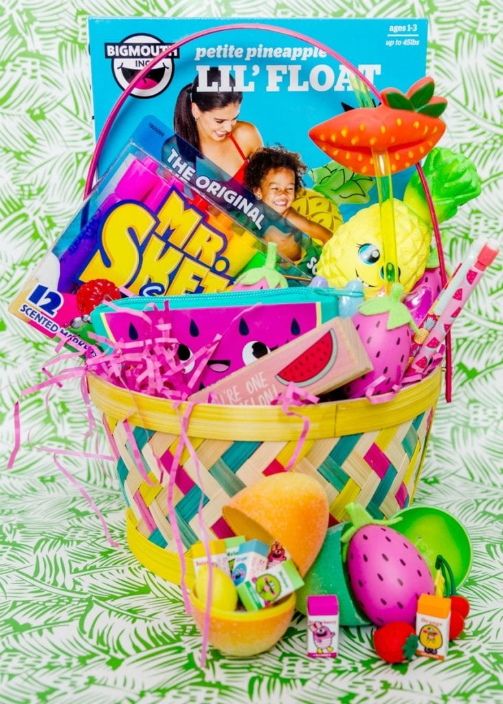 Fun fruit themed Easter basket ideas complete with DIY strawberry Easter eggs by Jennifer Perkins