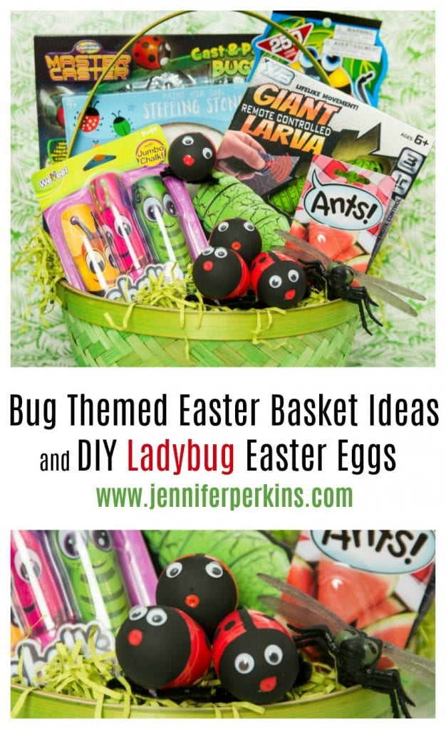 Fun ideas for an Easter basket full of bug toys and DIY ladybug eggs by Jennifer Perkins