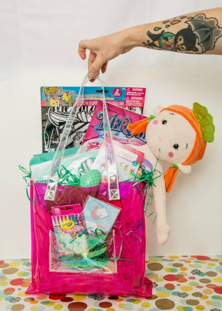 What to put in a mermaid themed gift bag or Easter basket complete with DIY fish scale eggs by Jennifer Perkins