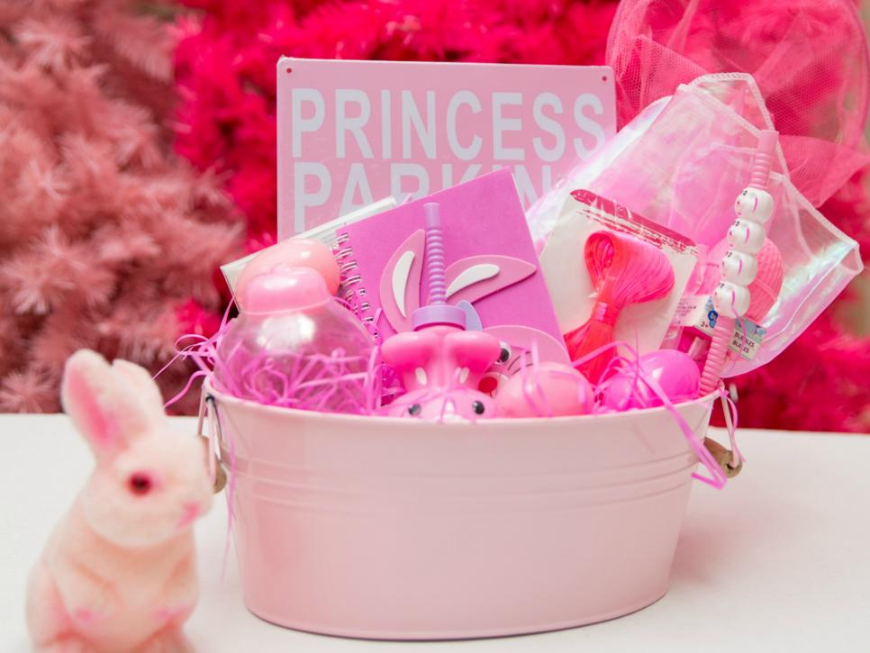 Create a pink themed candy free Easter basket - Jennifer Perkins for DIY Network