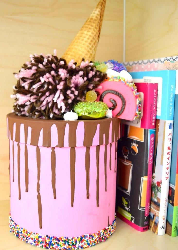DIY spilled ice cream cake inspired trinket box by Jennifer Perkins