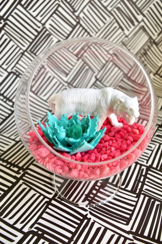 Kitschy DIY terrarium with foam succulents by Jennifer Perkins