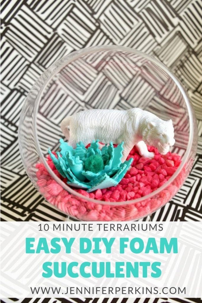 How to make a terrarium full of DIY succulents made of foam by Jennifer Perkins